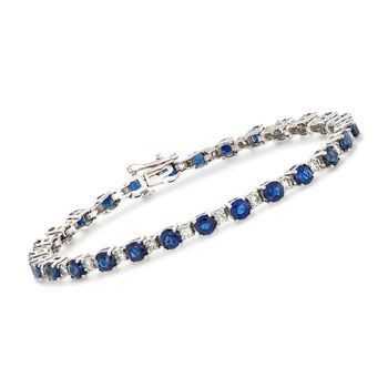 """8.75 ct. t.w. Sapphire and 1.35 ct. t.w. Diamond Tennis Bracelet in 14kt White Gold. 7"""", , default"""