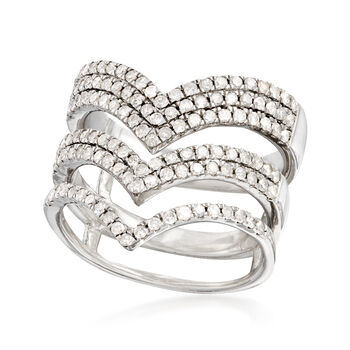 1.00 ct. t.w. Diamond Chevron Ring in Sterling Silver