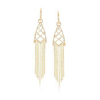 .17 ct. t.w. Diamond Geometric Fringe Drop Earrings in 14kt Yellow Gold, , default