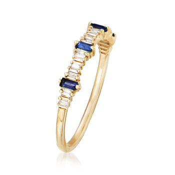 .14 ct. t.w. Diamond and .10 ct. t.w. Sapphire Stackable Ring in 14kt Yellow Gold