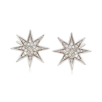 .50 ct. t.w. Diamond Star Earrings in Sterling Silver, , default