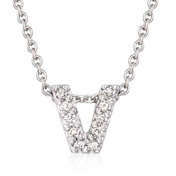 "Roberto Coin ""Tiny Treasures"" Diamond Accent Initial ""V"" Necklace in 18kt White Gold. 16"", , default"