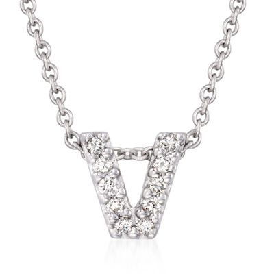 "Roberto Coin ""Tiny Treasures"" Diamond Accent Initial ""V"" Necklace in 18kt White Gold, , default"