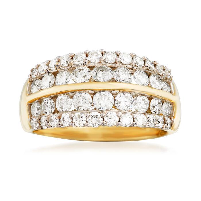 1.50 ct. t.w. Diamond Multi-Row Wedding Ring in 14kt Yellow Gold