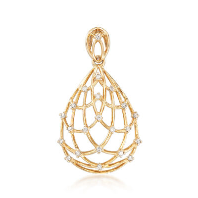 .18 ct. t.w. Diamond Pear-Shaped Openwork Pendant in 14kt Yellow Gold, , default
