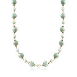 Green Jade Bead Necklace in 14kt Yellow Gold , , default