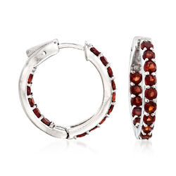 2.50 ct. t.w. Garnet Inside-Outside Hoop Earrings in Sterling Silver, , default