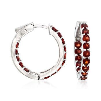 """2.50 ct. t.w. Garnet Inside-Outside Hoop Earrings in Sterling Silver. 1"""", , default"""