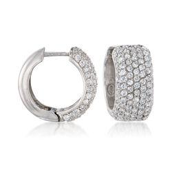 3.00 ct. t.w. CZ Huggie Hoop Earrings in Sterling Silver, , default