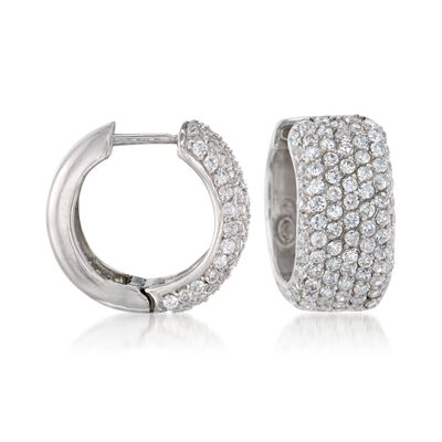 3.00 ct. t.w. CZ Huggie Hoop Earrings in Sterling Silver, , default