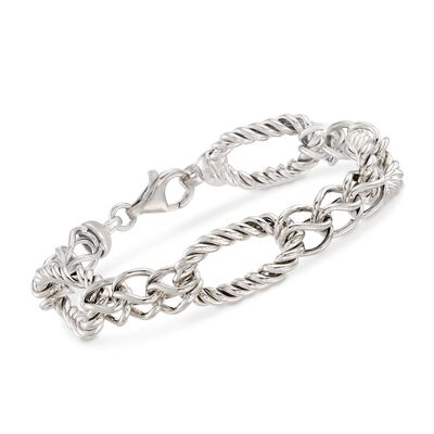 Italian Sterling Silver Twisted Link Bracelet, , default