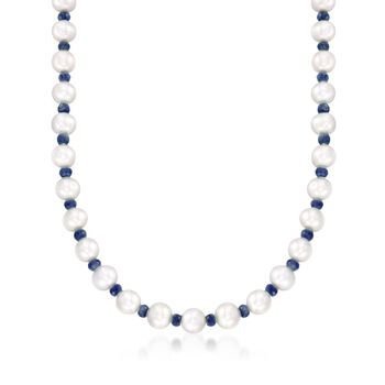 """13.00 ct. t.w. Sapphire and 8-8.5mm Cultured Pearl Necklace With 14kt Yellow Gold. 18"""", , default"""