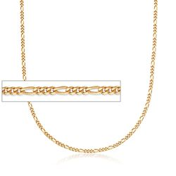 "C. 2000 Vintage 14kt Yellow Gold Figaro Chain Necklace. 23.5"", , default"