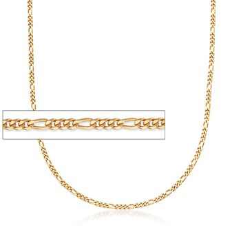 """C. 2000 Vintage 14kt Yellow Gold Figaro Chain Necklace. 23.5"""", , default"""