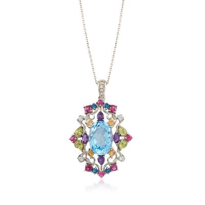12.70 ct. wt. Multi-Stone Pendant Necklace with Diamond Accents in Sterling Silver, , default
