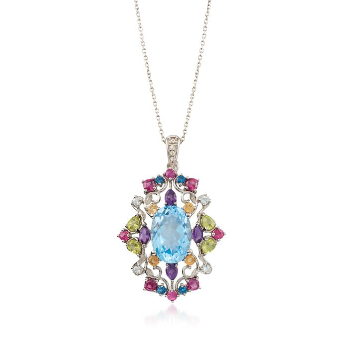 "12.70 ct. wt. Multi-Stone Pendant Necklace with Diamond Accents in Sterling Silver. 18"", , default"
