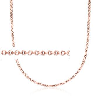 "Belle Etoile 2mm 14kt Rose Gold Over Sterling Silver Rolo Chain. 18"", , default"