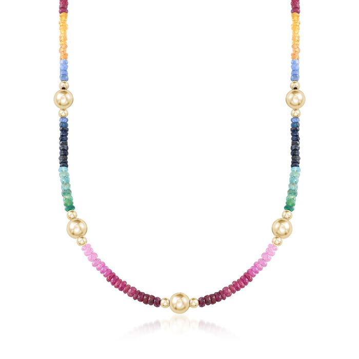 34.50 ct. t.w. Multi-Stone Bead Necklace with 14kt Yellow Gold, , default