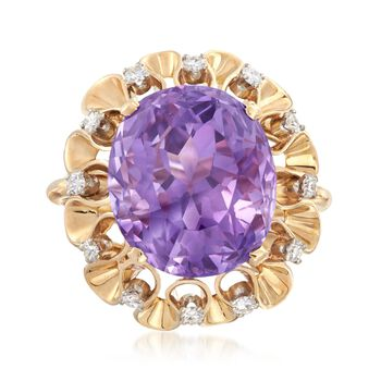 C. 1970 Vintage 16.75 Carat Amethyst and .36 ct. t.w. Diamond Ruffle Ring in 18kt Yellow Gold. Size 7, , default