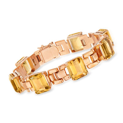 C. 1940 Vintage 35.00 ct. t.w. Citrine Link Bracelet in 18kt Rose Gold, , default