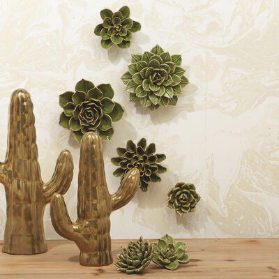 Set of Seven Green Porcelain Decorative Succulent Wall Sculptures, , default