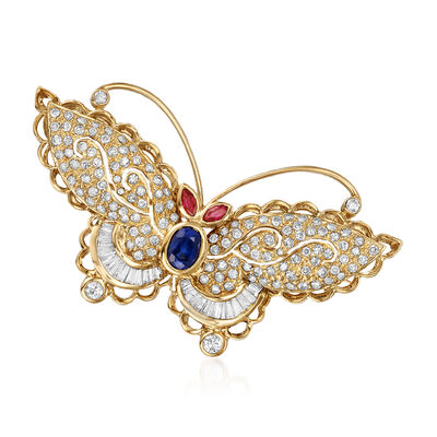 C. 1990 Vintage 1.60 ct. t.w. Diamond, .68 Carat Sapphire and .19 ct. t.w. Ruby Butterfly Pin in 18kt Yellow Gold, , default