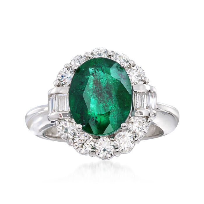 3.50 Carat Emerald and 1.20 ct. t.w. Diamond Ring in 14kt White Gold