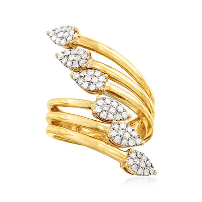 .50 ct. t.w. Diamond Bypass Ring in 18kt Gold Over Sterling