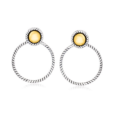 Sterling Silver and 14kt Yellow Gold Roped Doorknocker Earrings