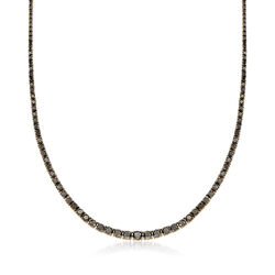 7.00 ct. t.w. Graduated Black Diamond Necklace in 18kt Yellow Gold Over Sterling Silver , , default