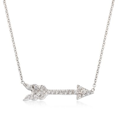 Roberto Coin 18kt White Gold Arrow Pendant Necklace with Diamond Accents, , default