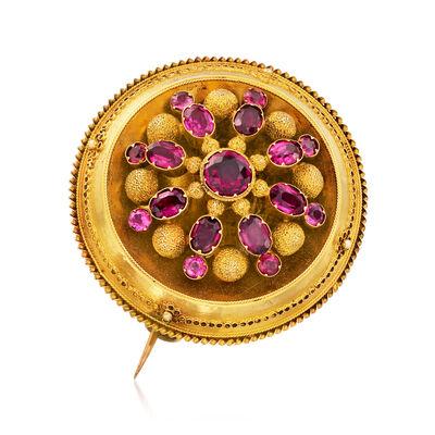 C. 1900 Vintage 3.40 ct. t.w. Rhodolite Garnet Pin in 10kt Yellow Gold