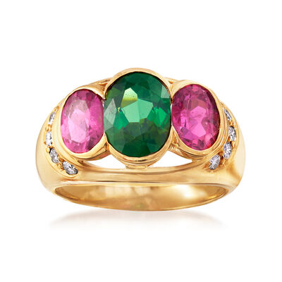 C. 1990 Vintage 3.50 ct. t.w. Green and Pink Tourmaline and .25 ct. t.w. Diamond Ring in 18kt Yellow Gold, , default