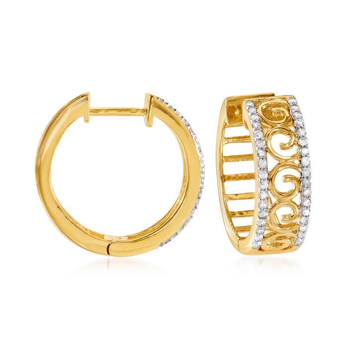 .25 ct. t.w. Diamond Openwork Swirl Hoop Earrings in 18kt Gold Over Sterling