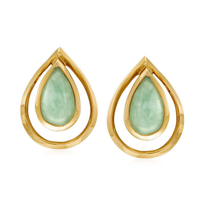 C. 1980 Vintage Jade Pear-Shaped Earrings in 14kt Yellow Gold