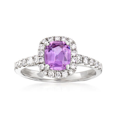 1.00 Carat Pink Sapphire and .33 ct. t.w. Diamond Ring in 18kt White Gold