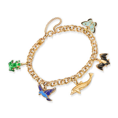 C. 1990 Vintage 14kt Yellow Gold Charm Bracelet with Multicolored Enamel