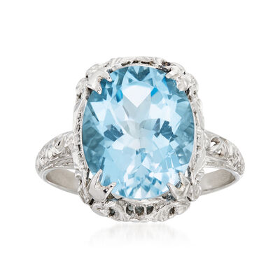 C. 1970 Vintage 6.00 Carat Blue Topaz Ring in 14kt White Gold, , default