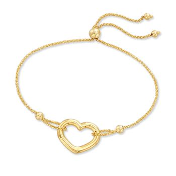 14kt Yellow Gold Open-Space Heart Bolo Bracelet, , default