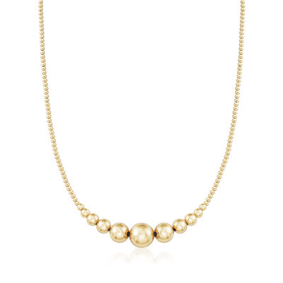 2-10mm 14kt Yellow Gold Graduated Bead Necklace, , default