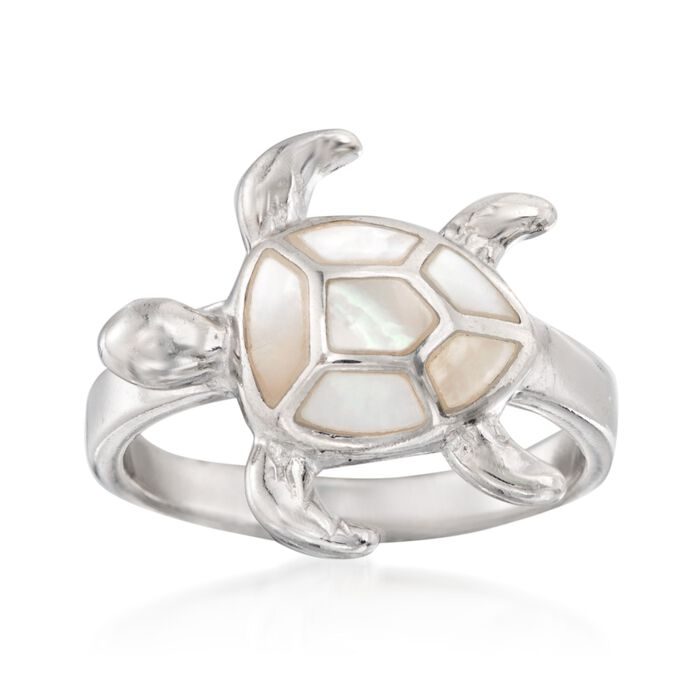 Mother-Of-Pearl Sea Turtle Ring in Sterling Silver, , default