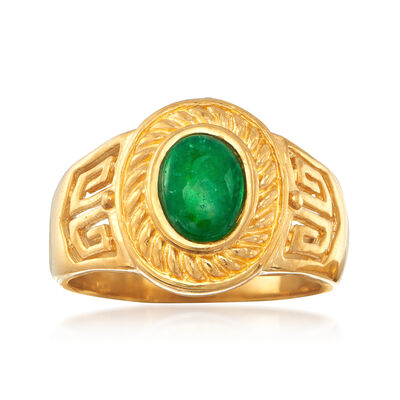 C. 1980 Vintage Green Jade Ring in 24kt Yellow Gold