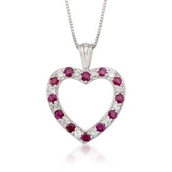 .45 ct. t.w. Ruby and .12 ct. t.w. Diamond Heart Pendant Necklace in 14kt White Gold, , default