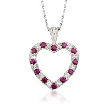 ".45 ct. t.w. Ruby and .12 ct. t.w. Diamond Heart Pendant Necklace in 14kt White Gold. 16"", , default"