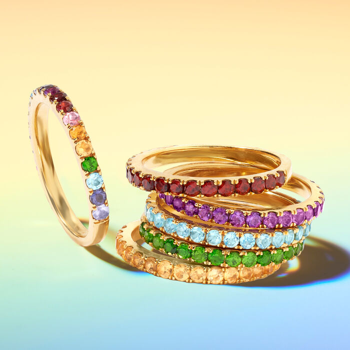 .64 ct. t.w. Multi-Gemstone Rainbow Ring in 18kt Gold Over Sterling