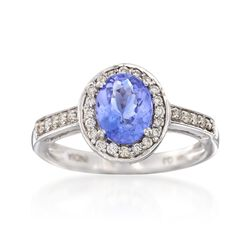 1.10 Carat Tanzanite and .26 ct. t.w. Diamond Ring in 14kt White Gold, , default