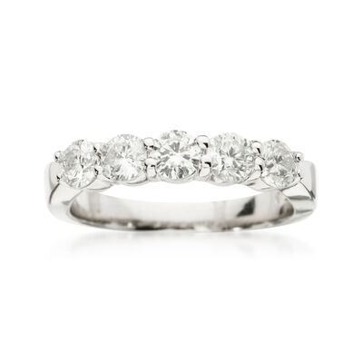1.00 ct. t.w. 5-Stone Diamond Wedding Ring in 14kt White Gold, , default