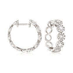 1.00 ct. t.w. Diamond Hoop Earrings in   14kt White Gold   , , default