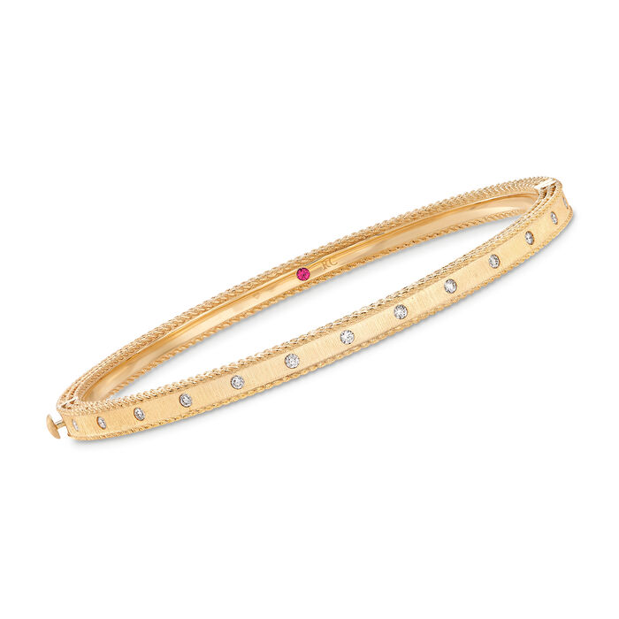 "Roberto Coin ""Symphony"" Princess .17 ct. t.w. Diamond-Studded Bangle Bracelet in 18kt Yellow Gold"