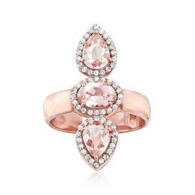2.00 ct. t.w. Morganite and .30 ct. t.w. White Zircon Frame Ring in 18kt Rose Gold Over Sterling, , default